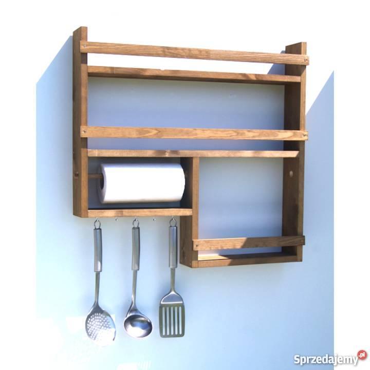 Półka Kuchnia Drewno Organizer Przyprawy Papier