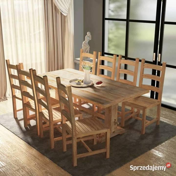 vidaXL Zestaw mebli do jadalni 9 elementów, stół i244003