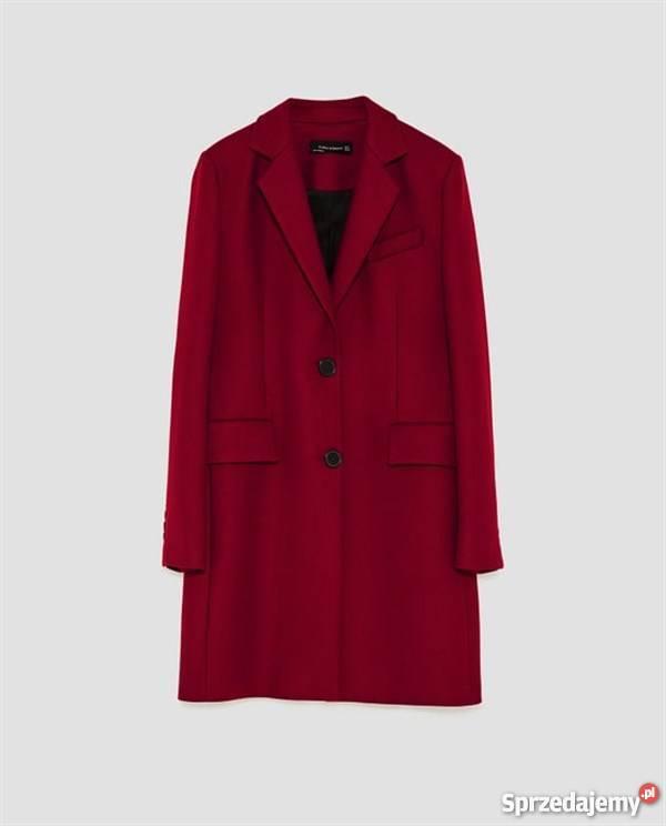 Zara wełniany płaszcz o męskim kroju bordowy L