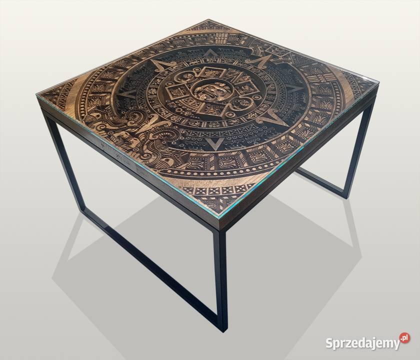 Stolik kawowy z szybą, kalendarz Majów, 65x65cm