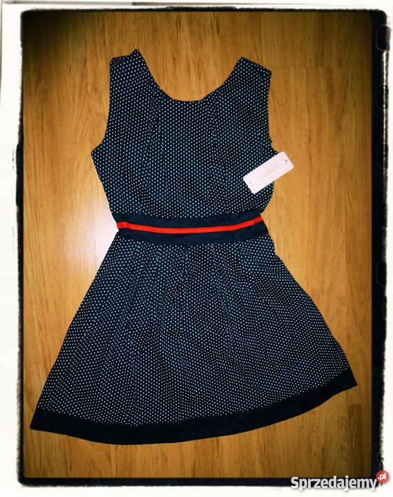 7b3737c192 Włoska granatowa sukienka w białe grochy rozmiar Inny materiał Wodzisław  Śląski