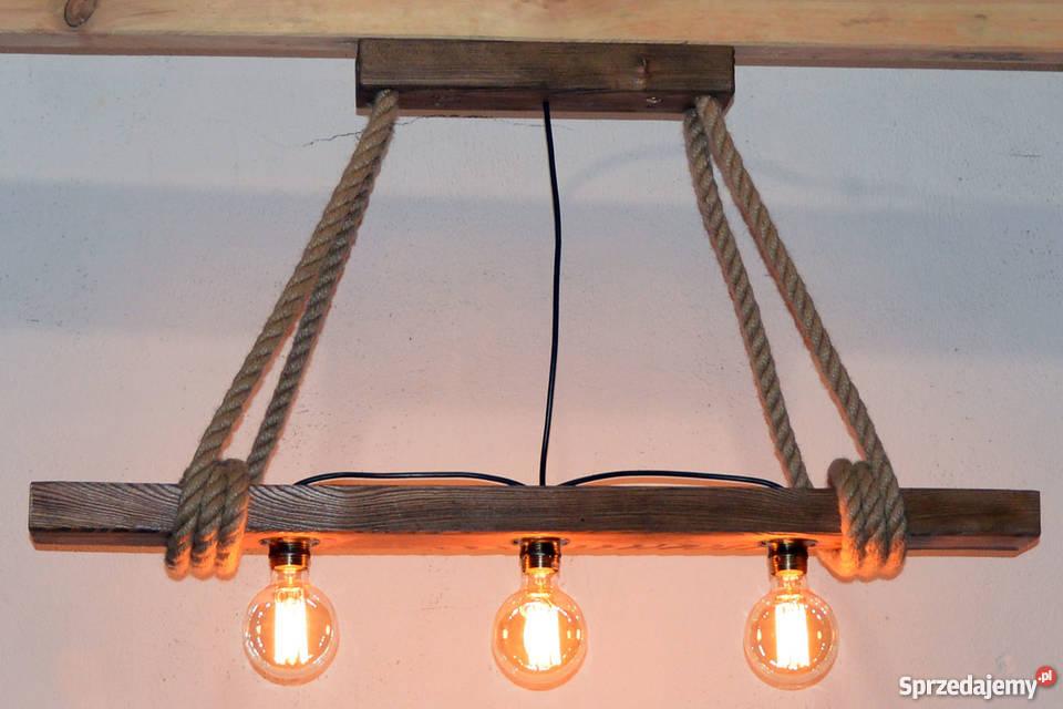 Lampa wisząca stara belka drewniana LOFT VINTAGE Wyposażenie wnętrz Szczecin