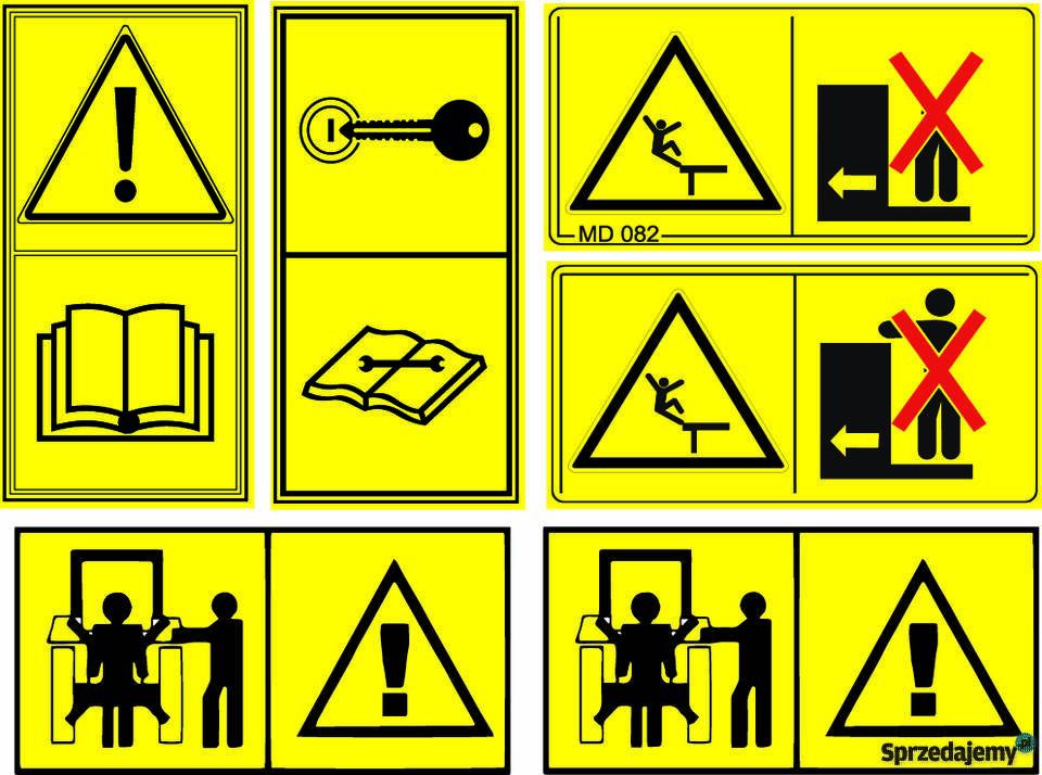 Wspaniały Wszystkie naklejki na maszyny Naklejki piktogramy ostrzegawc SX52