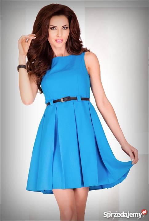 cbc3a777a6 jokastyl Niebieska rozkloszowana sukienka PASEK Rozkloszowana Spódnice i  sukienki