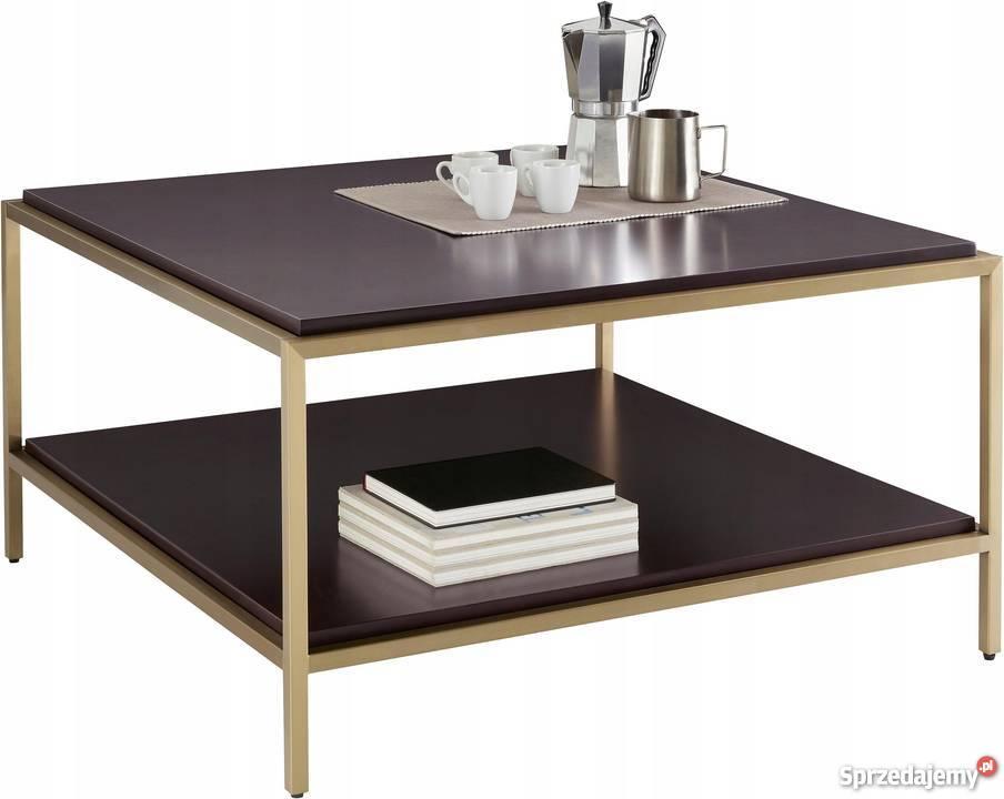 Nowy, nowoczesny stolik kawowy, złota rama, blat mdf, 90cm