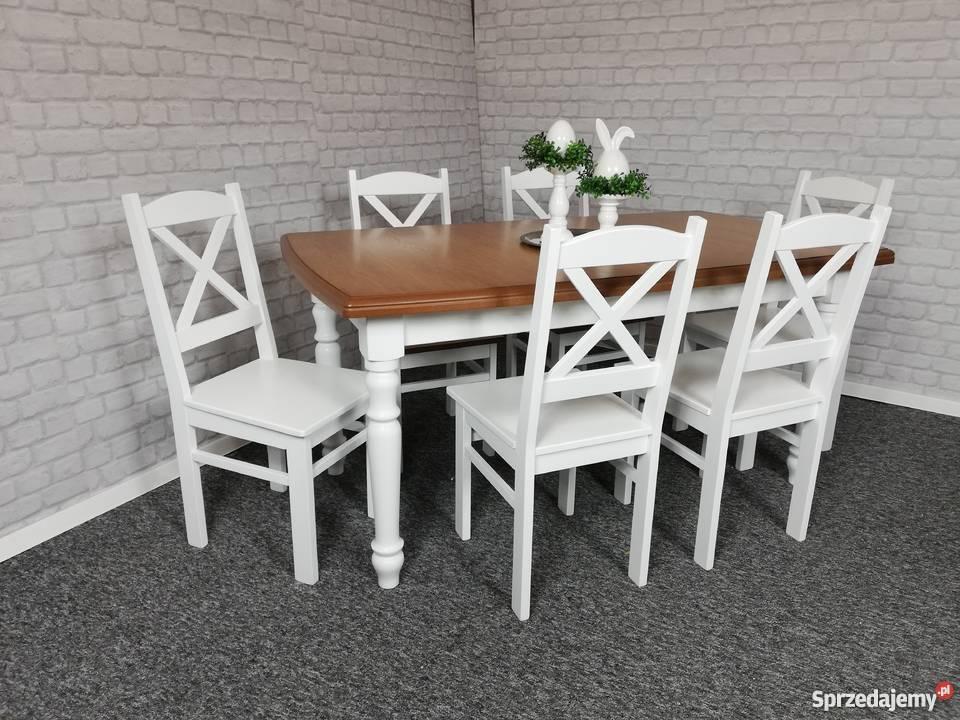 Zestaw prowansalski stół 120x80/190 i 4 krzesła białe