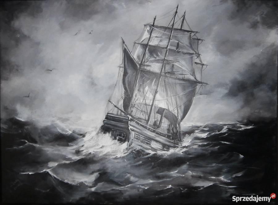 Groovy Nowoczesny czarno-biały oraz statek morze do salonu sypiani WQ25