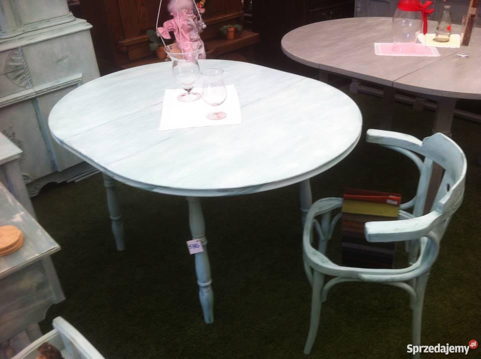 Stół Okrągły Rozkładany Sprzedany 4 Krzesła Przecierane