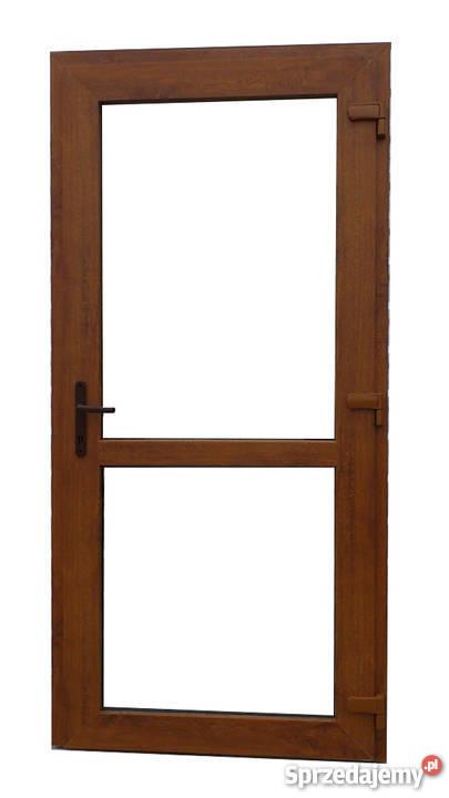 Drzwi Pcv 105x210 Złoty Dąb Zewnętrzne Tarasowe Gratis