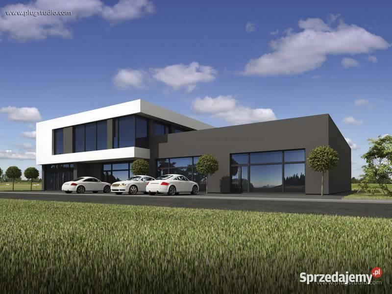 Projekt budynku usługowego nowoczesny płaski dach eko