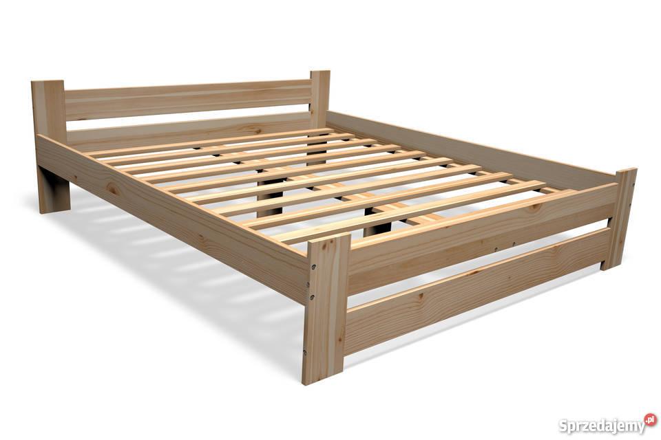 łóżko Drewniane Sosnowe 140x200 Stelaż Materac