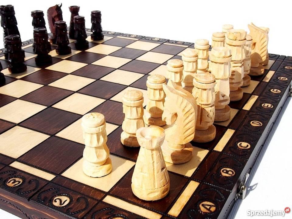 ORYGINALNE drewniane szachy ZAMKOWE 54x54 małopolskie Śleszowice