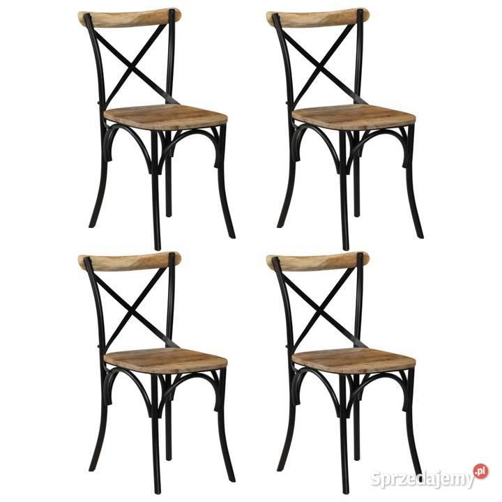vidaXL Krzesła do jadalni, krzyżowe, 4 szt., czarne, (27877)
