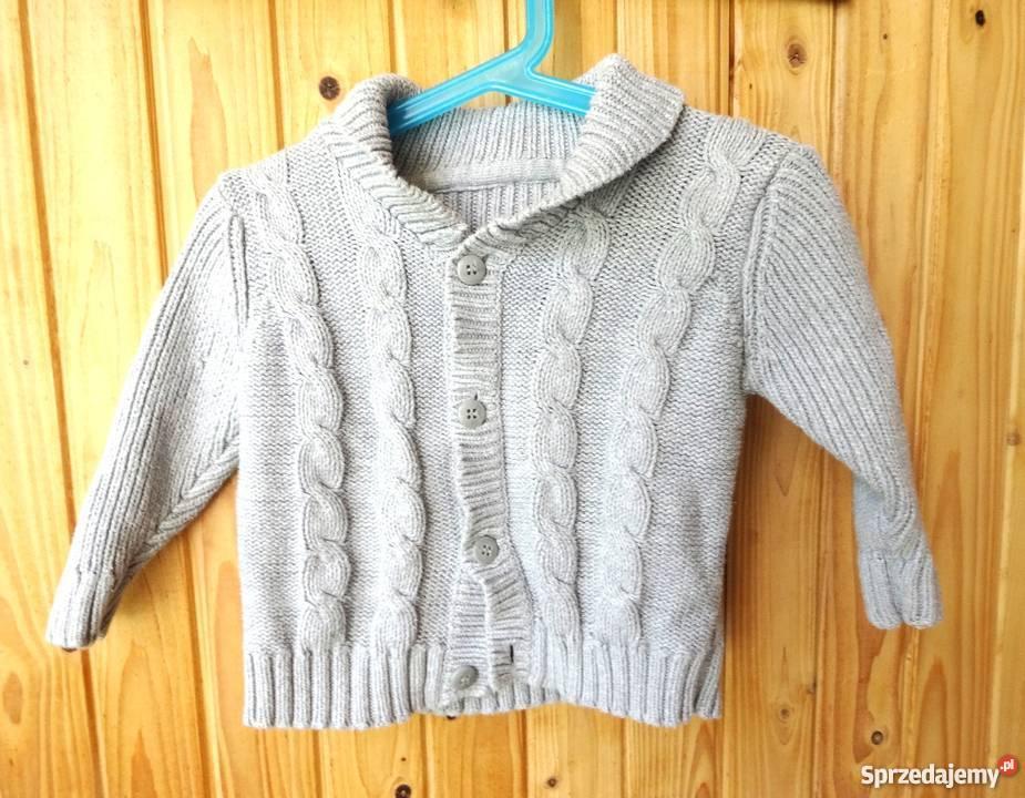 Szary sweterek rozpinany 12 18 miesięcy 86 cm warkocze
