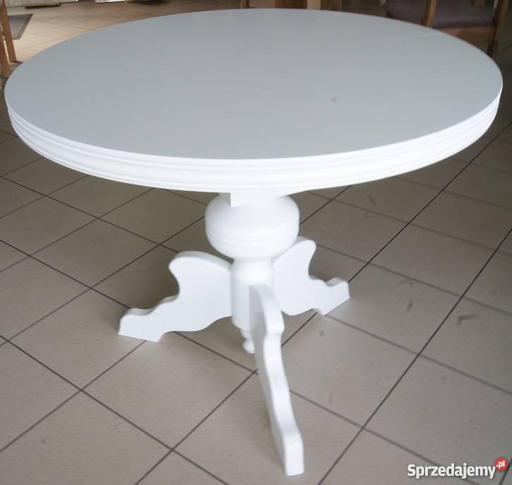 Stół 90 38 Rozkładany Okrągły Na Drewnianej Nodze Kępno