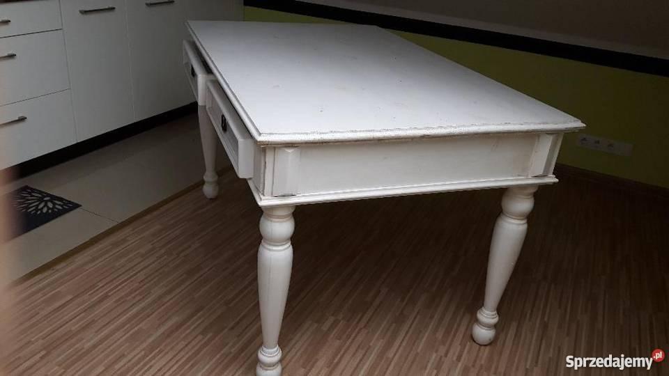 Modernistyczne Piękny biały stół drewniany z szufladami + 4 krzesła Wrocław SA99