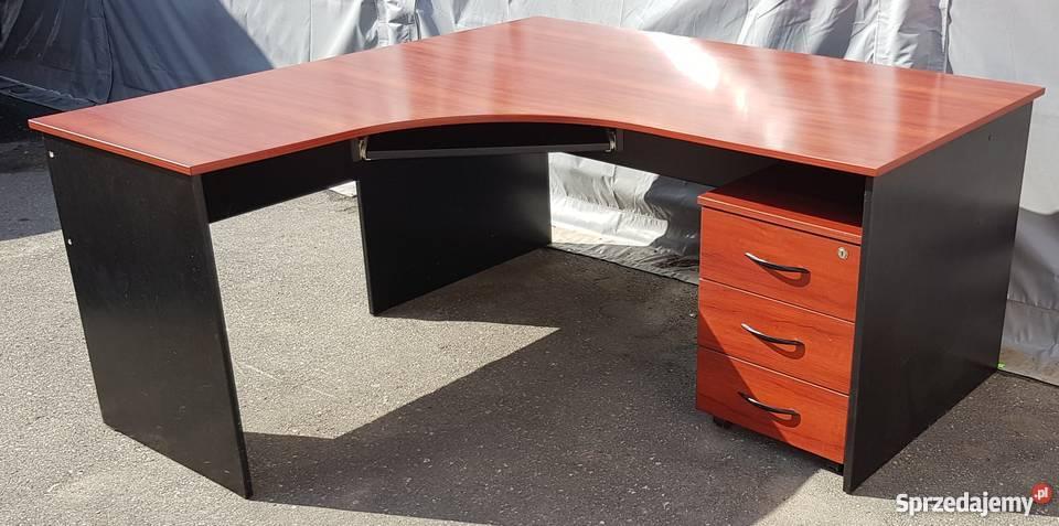 Aktualne biurko narożne z kontenerem mahoń-meble biurowe używane Poznań YU56