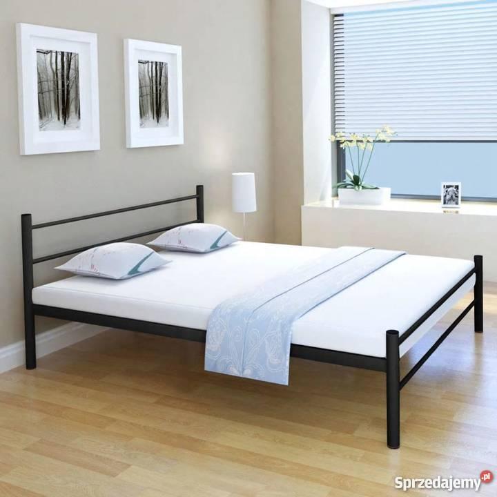 Vidaxl Metalowa Rama łóżka 160 X 200 Cm Czarna 244061