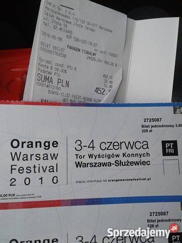 Sprzedam 2 bilety na Orange Warsaw Festival Warszawa
