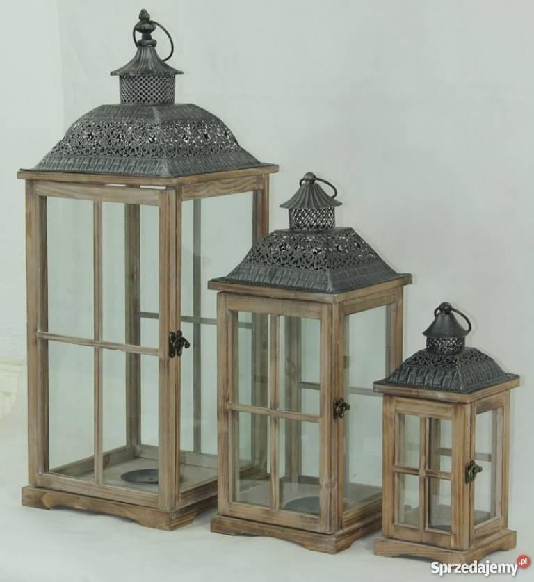 Brązowy Drewniany Lampion Latarnia Komplet 3 Sztuki