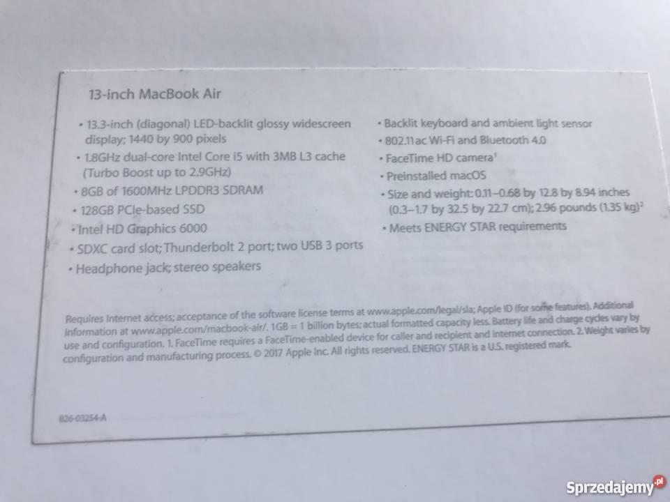 "Apple MacBook Air 133 13-13.9"" Łódź"