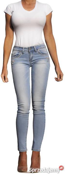 a2b8defb Spodnie Damskie Jeans Denim Dopasowane Rurki Haft #587