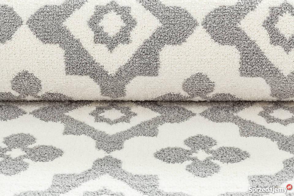 Dywan Emma Komfort 120x170 Biały Szary Kwiaty Maroko