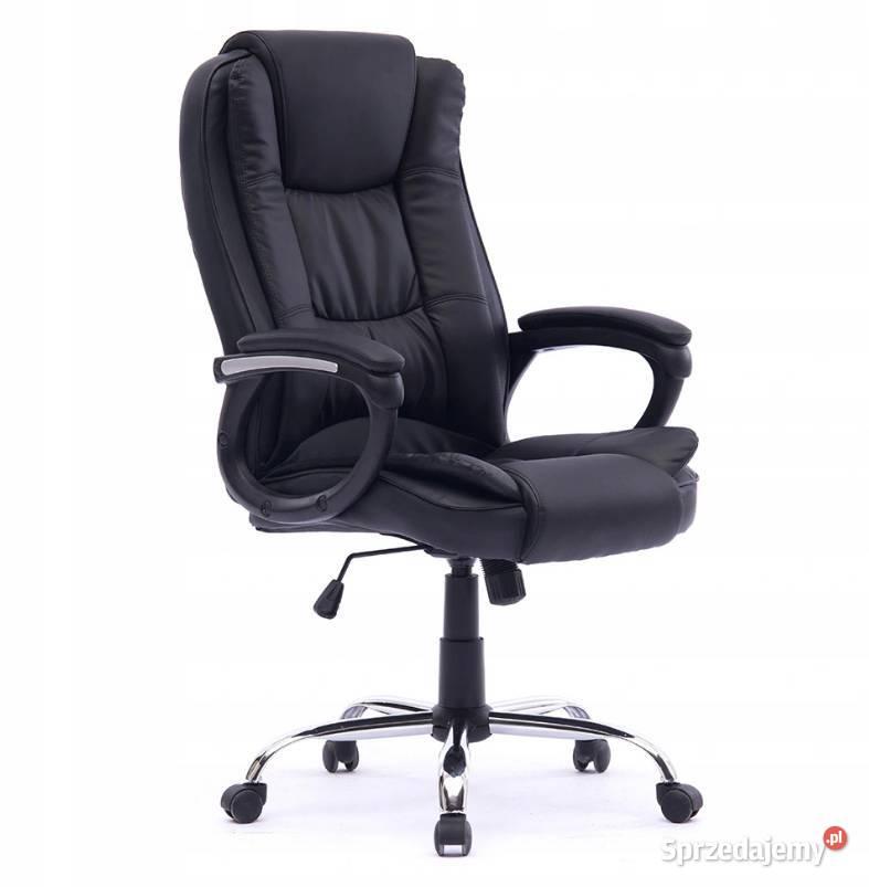 Fotel biurowy obrotowy Gumowe kółka Czarny NOWY