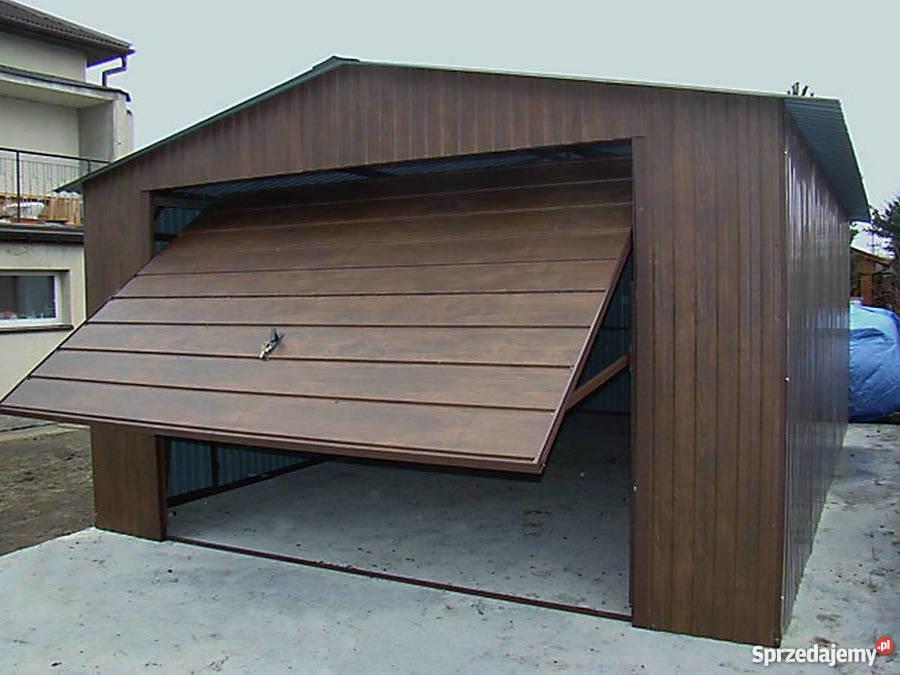 Garaże Blaszane 4x5 Orzech Blaszaki Drewnopodobne Garaż