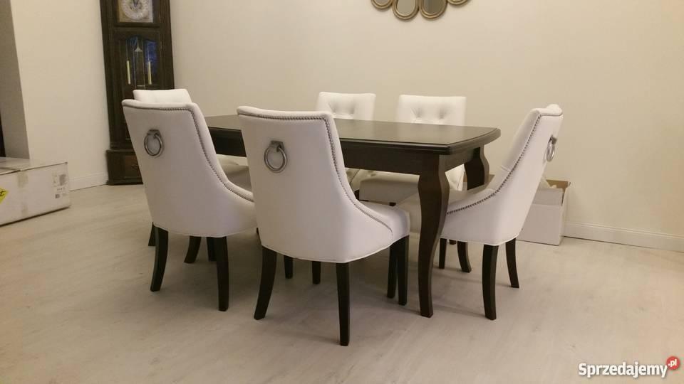 Poważne Krzesło fotel z kołatką pikowane i pinezkami producent Piła NL78