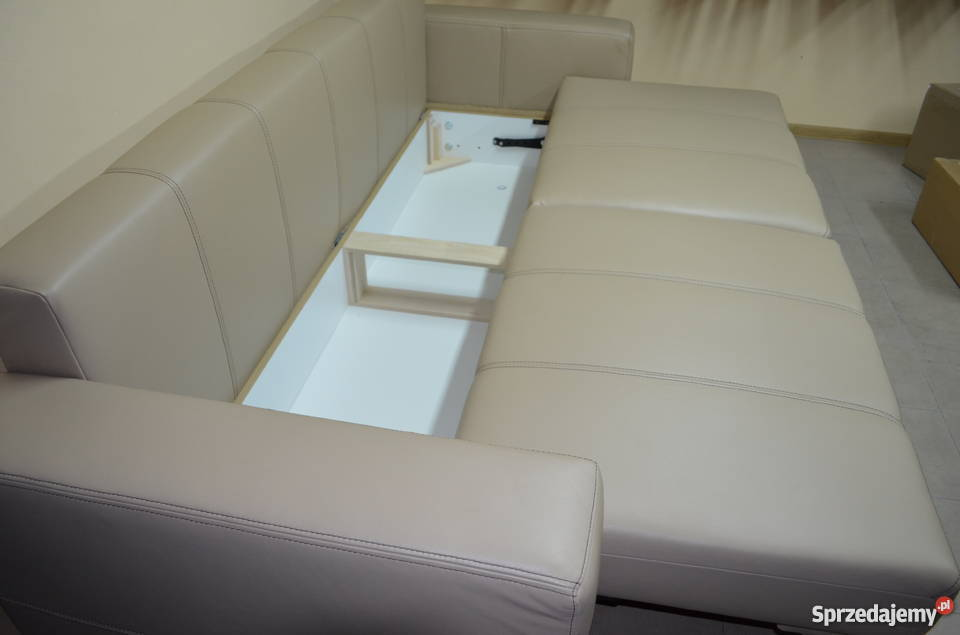 Kanapa sofa rozkładana prawdziwa skóra naturalna 90cm Gniewkowo