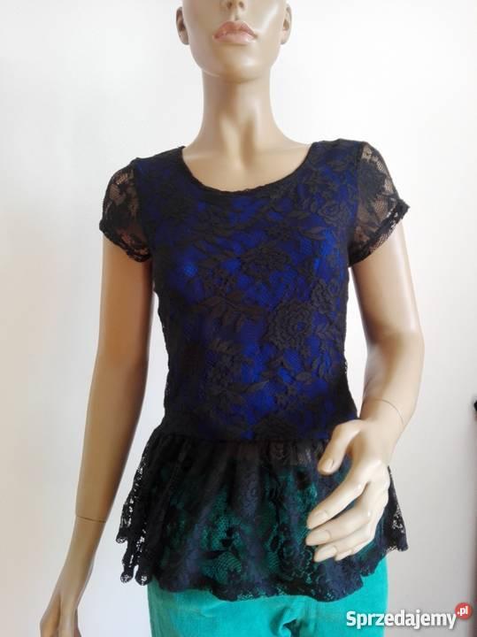 1fcbd411c731e7 czarna koronkowa bluzka z baskinką PAPAYA Warszawa - Sprzedajemy.pl
