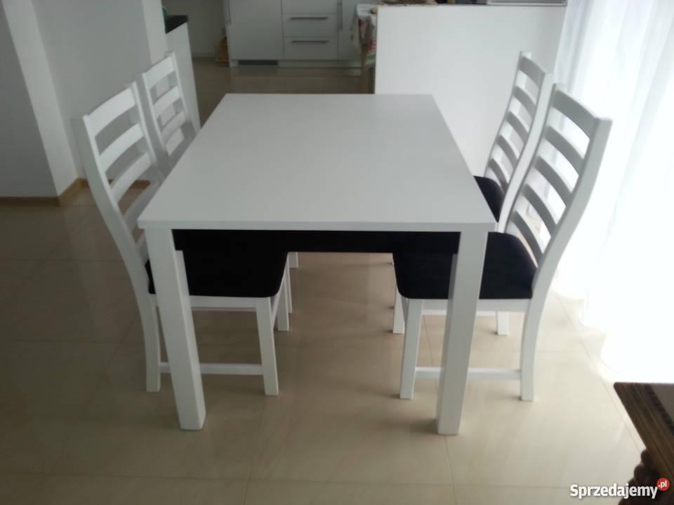 Piękny Biały Czarny Komplet Stół I 4 Krzesła Do Kuchni Jadal