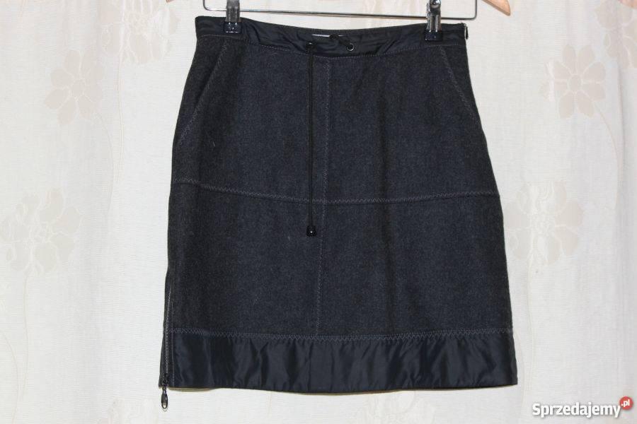 8d7bb35403df4b spódnica mini szara wełna zamki sznurek 34 36 S Inny materiał Szczurowa