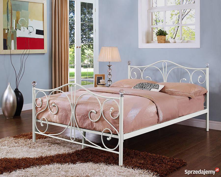 łóżko Metalowe Podwójne 140x200 160x200 Białe Czarne