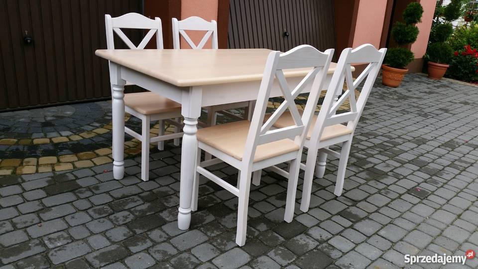 Komplet stół 110x70 i 4 krzesła  prowansalski biały producen