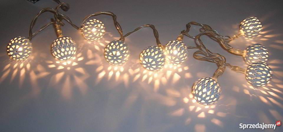 Lampki Ozdobne Led Metalowe Kule Na Baterie