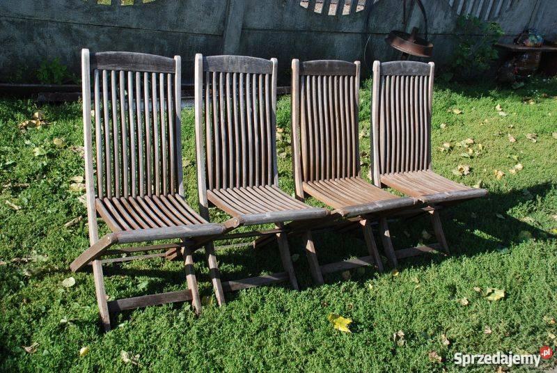 Meble Ogrodowe 4 Krzesła Drewniane Składane