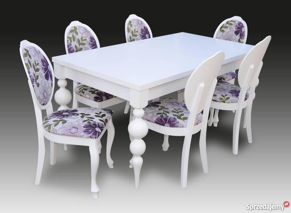 Stylowy Biały Zestaw,Stół + 6 Krzeseł - Nowość,