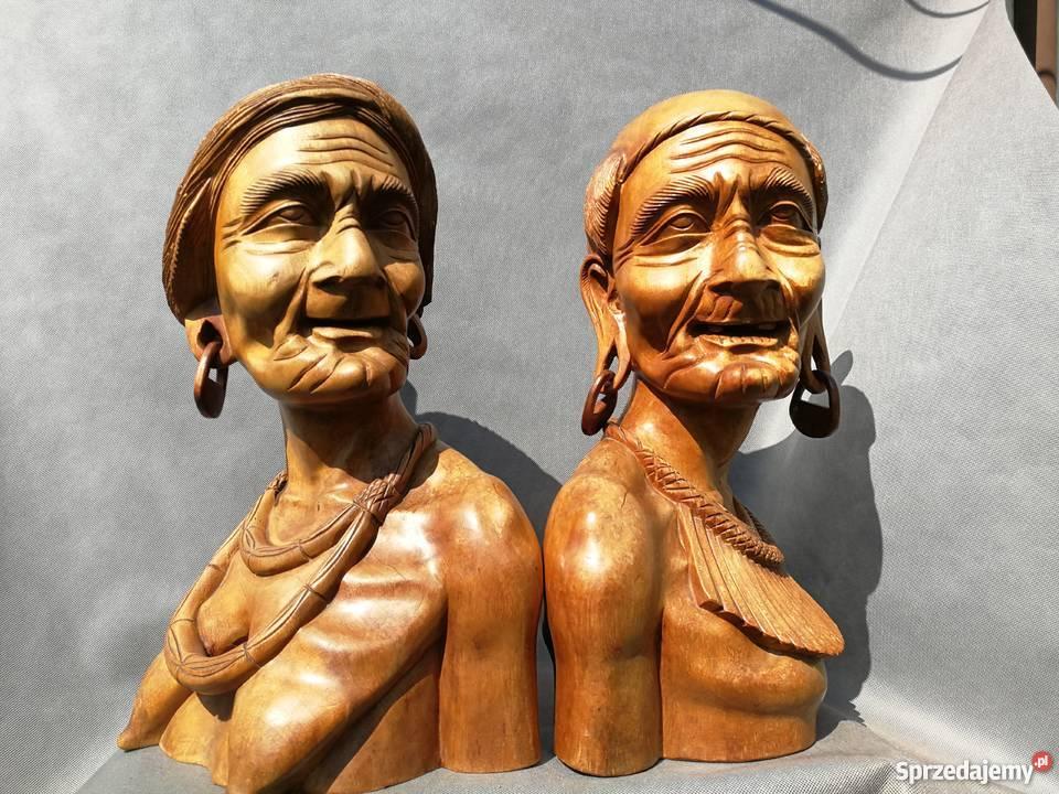 Rzeźba z drewna tekowego Popiersie 2 Antyki