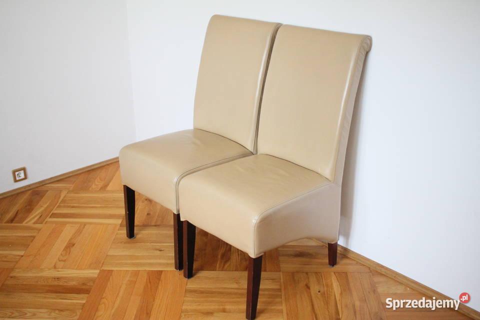 Krzesła tapicerowane (jasna skóra) - bardzo ładne