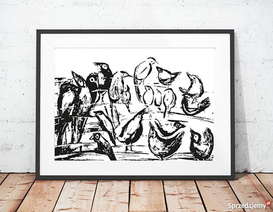białoczarny plakat ptakiptaszki grafika do Katowice sprzedam