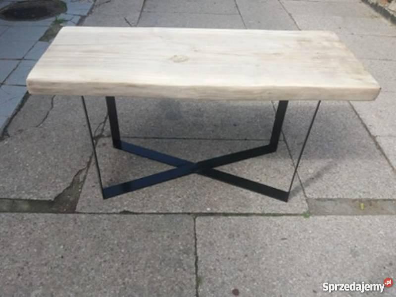 Stół, stolik, ława kawowy (a) (Topolowy z metalowymi nogami