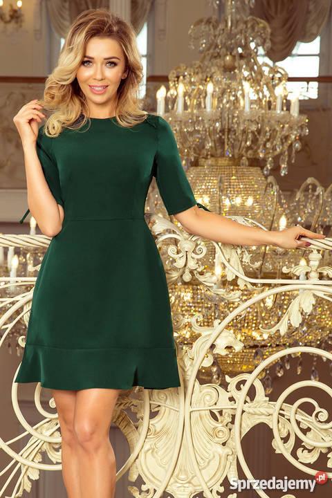 9ea7159a6c Sukienka falbanka wiązanie rękawky CIEMNOZIELONA S M L XL Mykanów ...