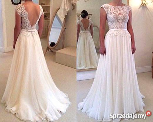 7c18b3b732 Suknia ślubna sukienka linia-a koronka 34 36 38 40 42 44 46 Jelenia ...
