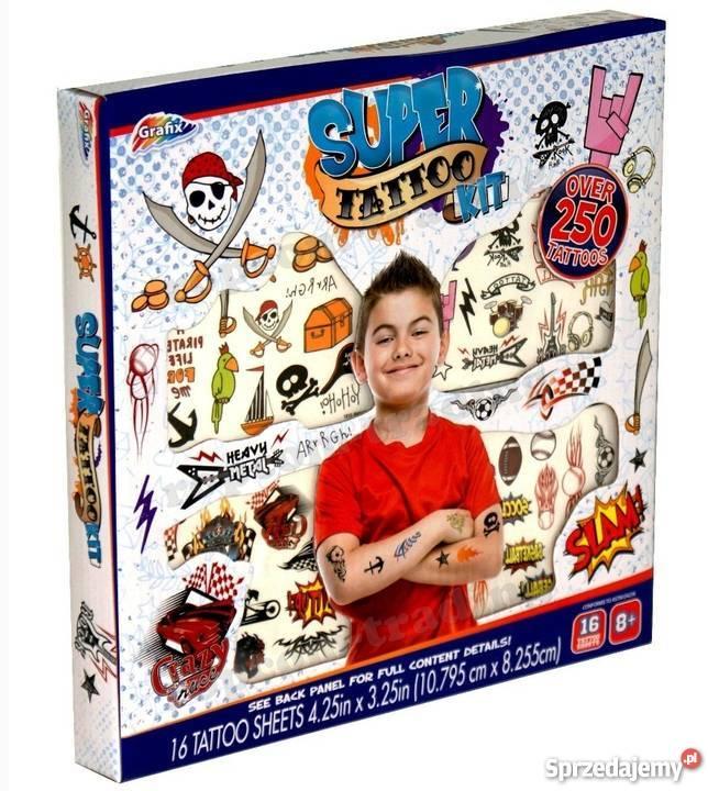 Zestaw Tatuaże Zmywalne Tymczasowe Dla Chłopca 250 Grafix