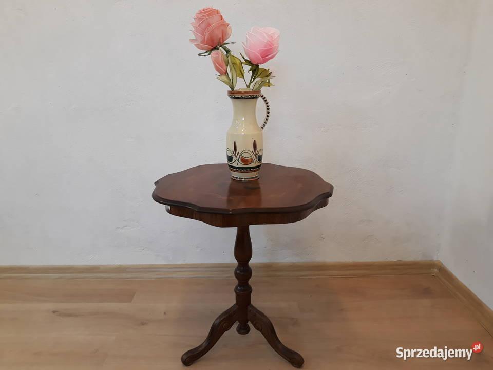 Stolik okrągły drewniany, stół, stoliczek intarsjowany