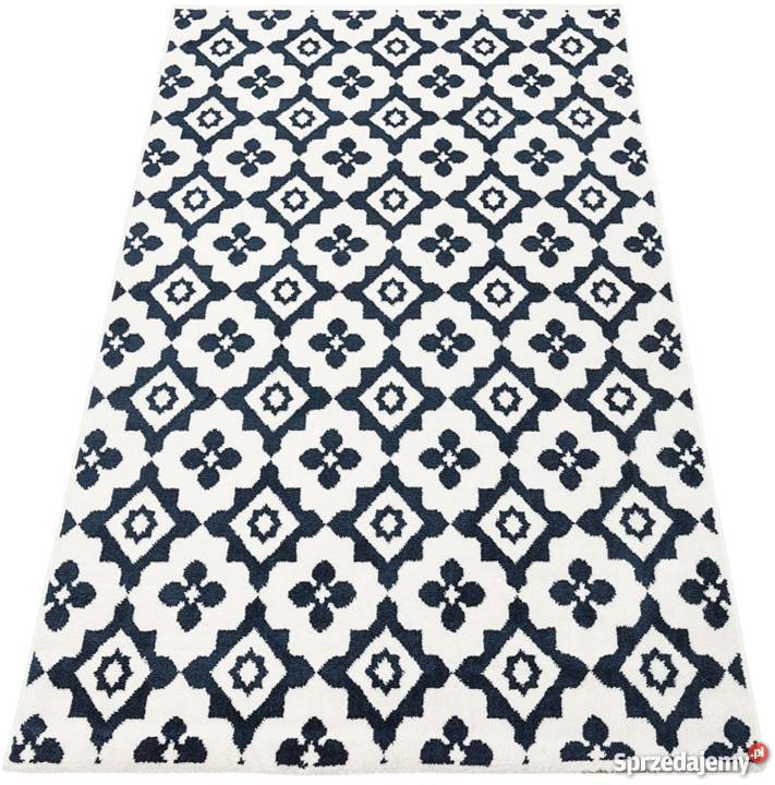 Dywan Emma Komfort 120x170 Biały Granat Kwiaty Maroko