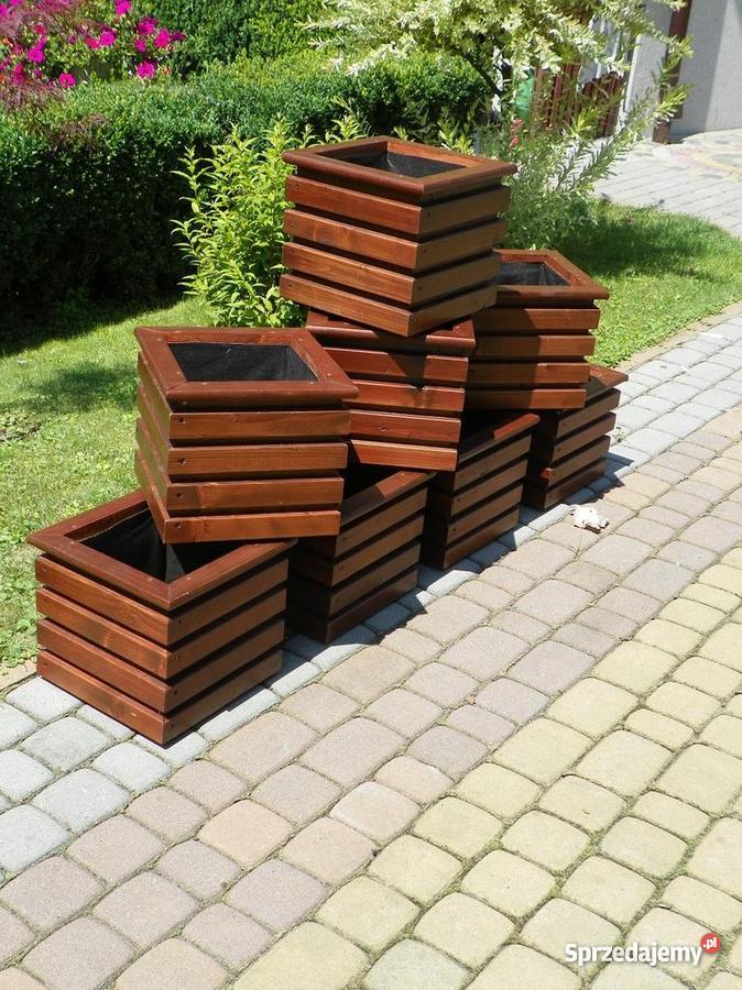 Donice Drewniane Doniczki Z Drewna 8 Sztuk Komplet