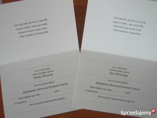 Zaproszenia Dla Chrzestnych Na Pierwszą Komunię świętą Przysucha